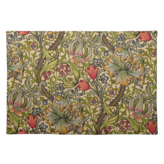 Vintage Golden Lilly Floral Design William Morris Placemat