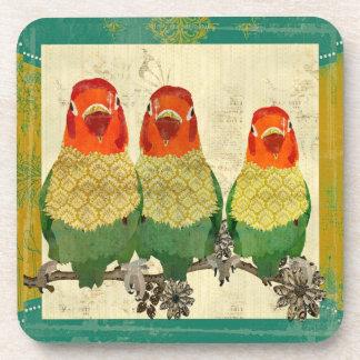 Vintage Golden Love Birds Cork Coaster