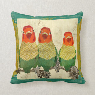 Vintage Golden Love Birds Mojo Pillow