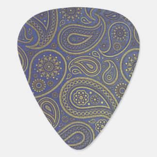 Vintage Golden Paisley on Blue Plectrum