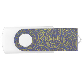 Vintage Golden Paisley on Blue Swivel USB 2.0 Flash Drive