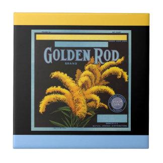 Vintage Golden Rod Orange Crate Label Accent Tile