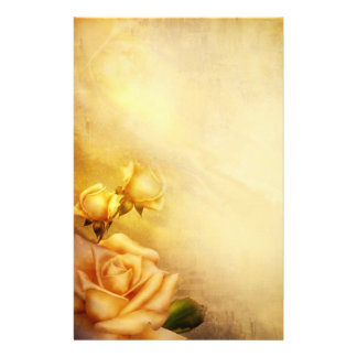 Vintage golden roses stationery paper