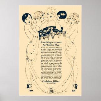 Vintage Golden Shampoo Ad Poster