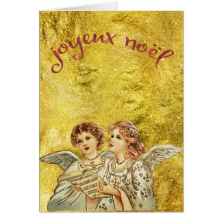 Vintage Golden Singing Angels Joyeux Noel Card