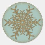 Vintage Golden Snowflake 2 Round Stickers