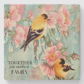 Vintage Golden Sparrows Sandstone Coaster