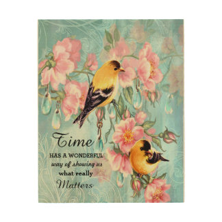 Vintage Golden Sparrows Wooden Canvas Wood Canvases