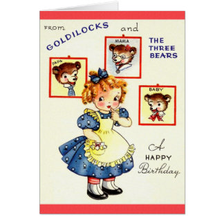 Vintage Goldilocks And Three Bears Birthday Card