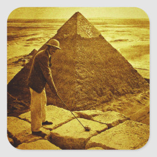 Vintage Golf at the Pyramids Square Sticker
