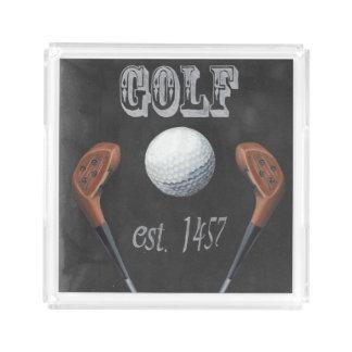 Vintage Golf Chalkboard Design Acrylic Tray