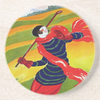 Vintage Golf French Woman Golfing Drink Coasters