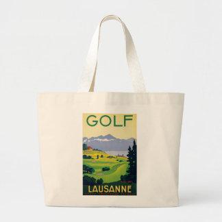 Vintage Golf Lausanne City Lake Switzerland Large Tote Bag