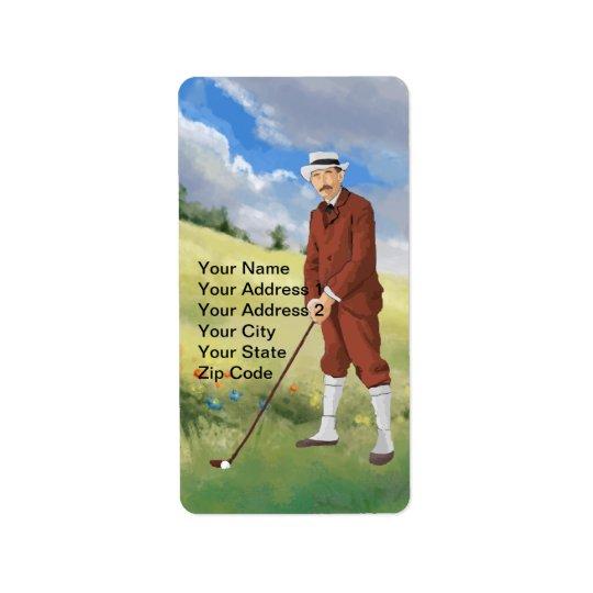Vintage golfer in the rough label