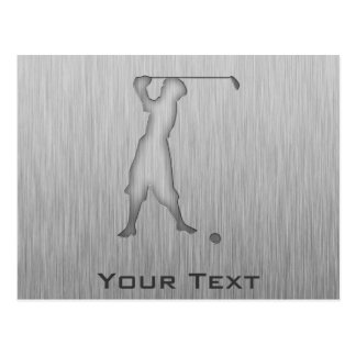 Vintage Golfer; Metal-look Postcard