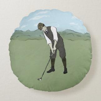 Vintage Golfer V1 Art Round Cushion