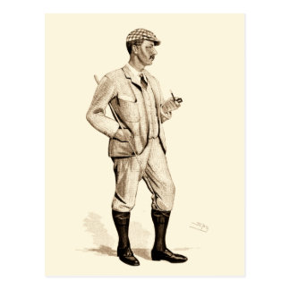 Vintage Golfer with Tobacco Pipe and Boots Postcard