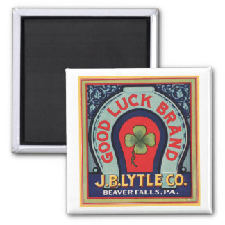 Vintage Good Luck Brand J. Bl Lytle Co. Crate Labe Square Magnet