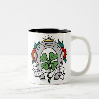 Vintage Good Luck Horseshoe and Shamrock Two-Tone Coffee Mug