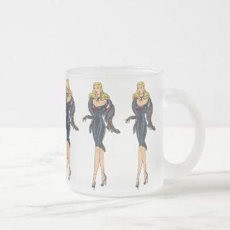 Vintage Gorgeous Glamor Girl Retro Blonde Pinup Frosted Glass Mug