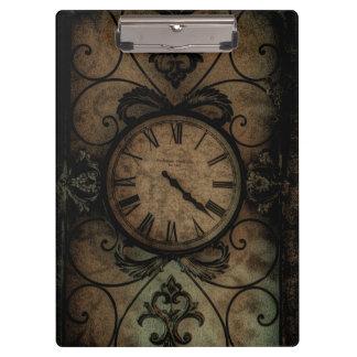 Vintage Gothic Antique Wall Clock Steampunk Clipboard