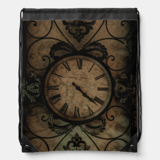 Vintage Gothic Antique Wall Clock Steampunk Drawstring Bag