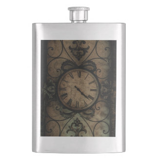 Vintage Gothic Antique Wall Clock Steampunk Hip Flask