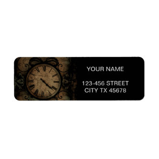 Vintage Gothic Antique Wall Clock Steampunk Return Address Label