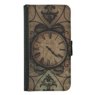 Vintage Gothic Antique Wall Clock Steampunk Samsung Galaxy S5 Wallet Case