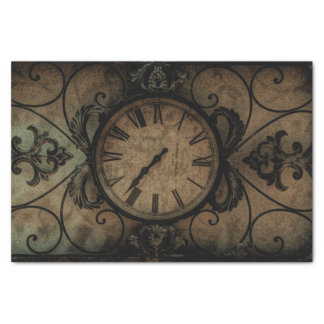Vintage Gothic Antique Wall Clock Steampunk Tissue Paper