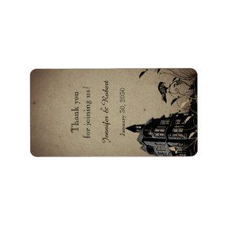 Vintage Gothic House Wedding Lip Balm Label