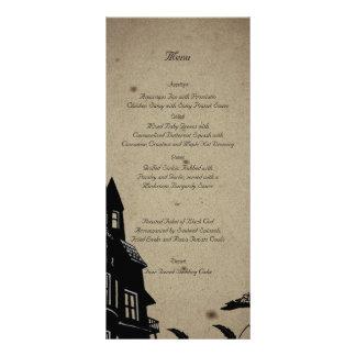 Vintage Gothic House Wedding Menu Rack Card Design