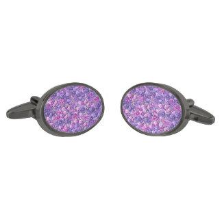 Vintage Gothic Rose Lavender Purple Gunmetal Finish Cufflinks