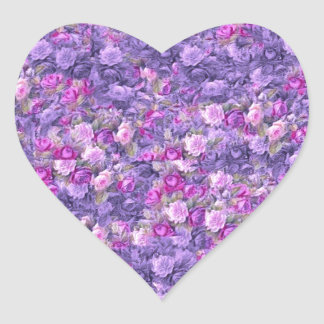 Vintage Gothic Rose Lavender Purple Heart Stickers