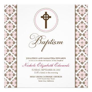 Vintage Grace Baptism Invitation chocolate pink