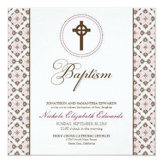 Vintage Grace Baptism Invitation (chocolate/pink)
