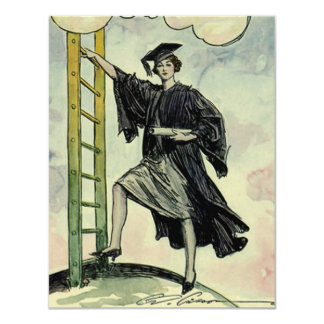 Vintage Graduation, Climbing the Corporate Ladder 11 Cm X 14 Cm Invitation Card