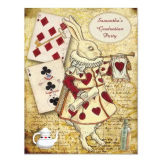 Vintage Graduation Party Wonderland Rabbit 11 Cm X 14 Cm Invitation Card