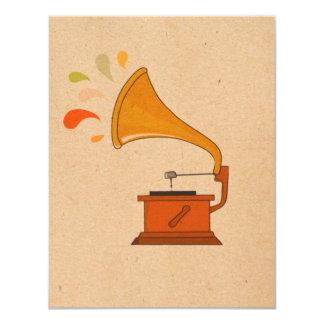 vintage grammophone with music splashes on brown 11 cm x 14 cm invitation card
