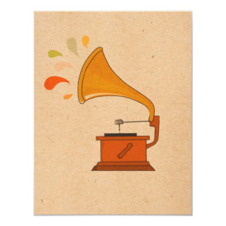 vintage grammophone with music splashes on brown card
