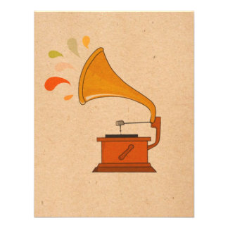 vintage grammophone with music splashes on brown custom announcements