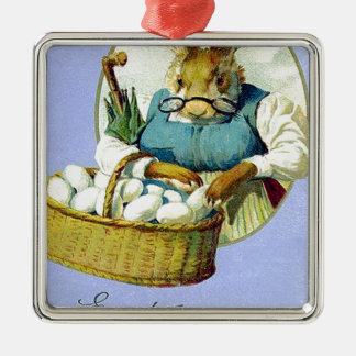 Vintage Grandma Bunny Easter Card Silver-Colored Square Decoration