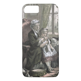 Vintage Grandma Teaching Kitting to Granddaughter iPhone 8/7 Case