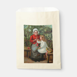 Vintage Grandmother and Granddaughter on Bench Favour Bags