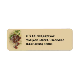 Vintage grapes return address label