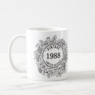 Vintage Grapevine Wine Stamp, Add Birth Year Coffee Mug
