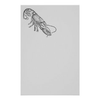Vintage graphic lobster custom stationery