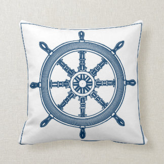 Vintage Graphic Ships Wheel Pillow