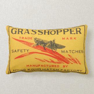 Vintage Grasshopper Safety Matches Label Lumbar Pillow