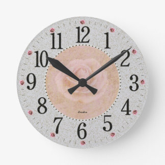 Vintage Gray and Pink Rose Theme Clock